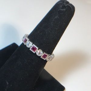 Size 9.5 CZ 925 sterling band ring synthetic ruby